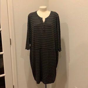 TORRID Grey and Black striped long sleeve dress.